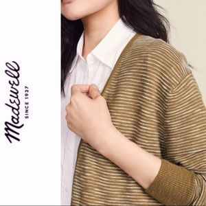 Madewell Striped Summer Ryder Cardigan In Olive 3X